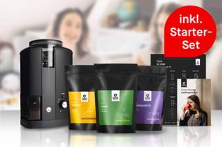 Kaffee Abo Set mit 3 verschiedenen Kaffees, einer elektrischen Kaffeemühle und Zubereitungstipps