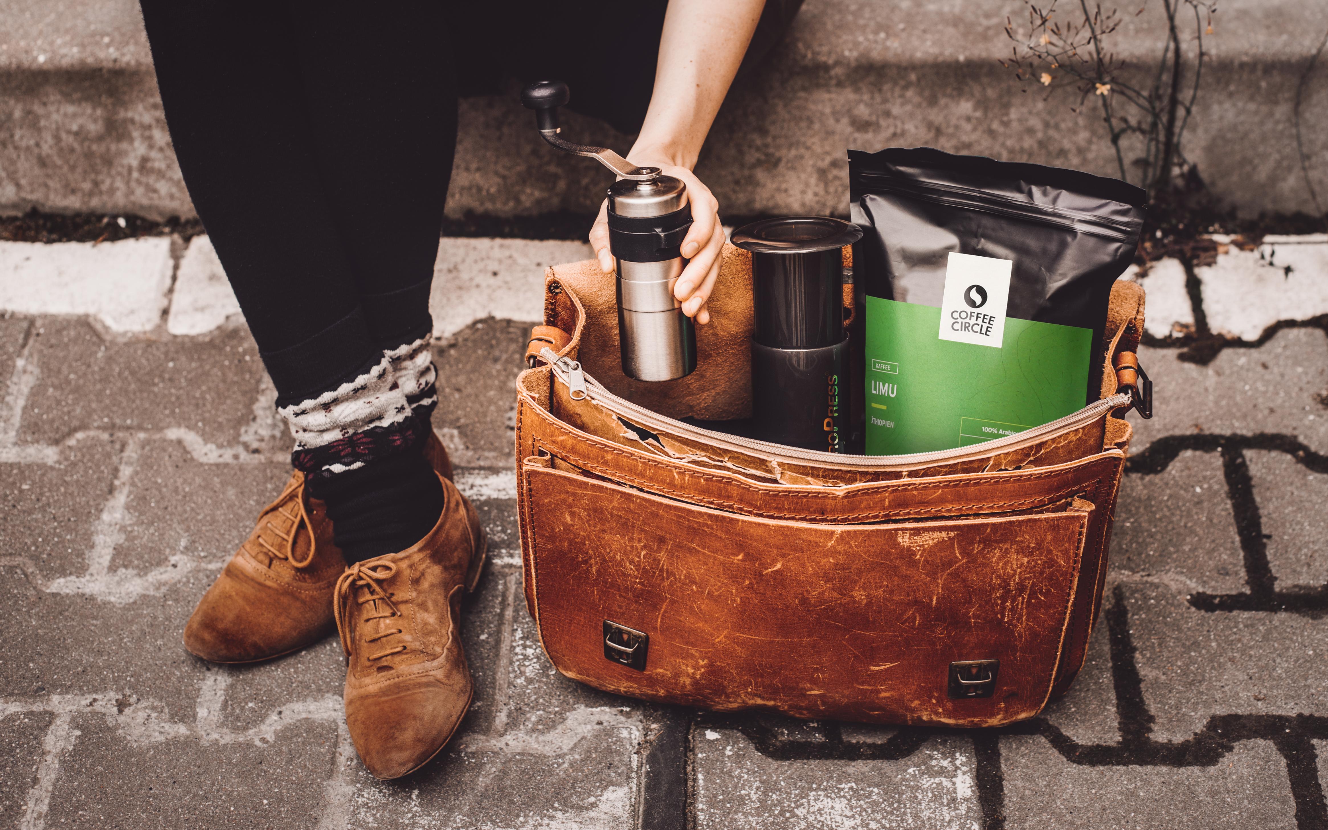 Die AeroPress und Porlex Mühle sind perfekt für Kaffee unterwegs