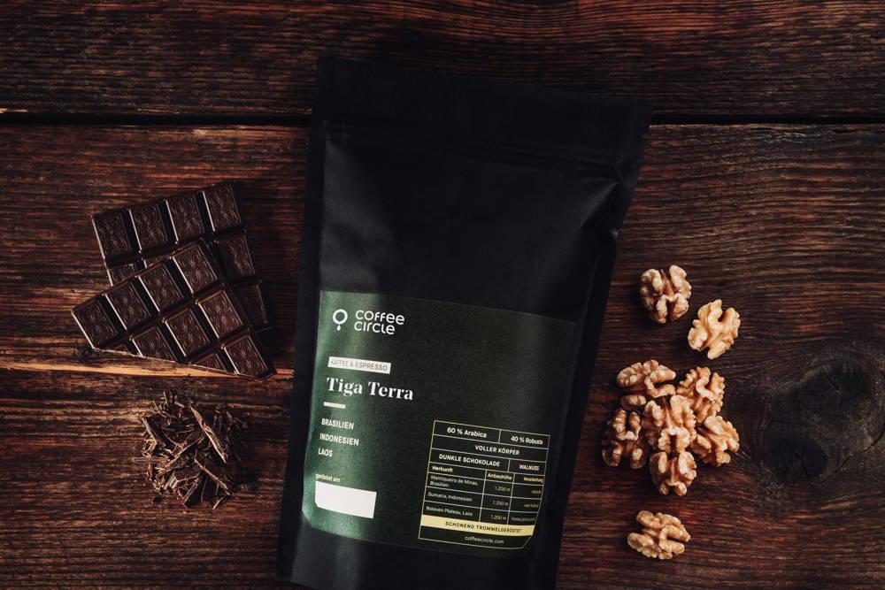 Tiga Terra Kaffee und Espresso Aromen Walnuss und dunkle Schokolade