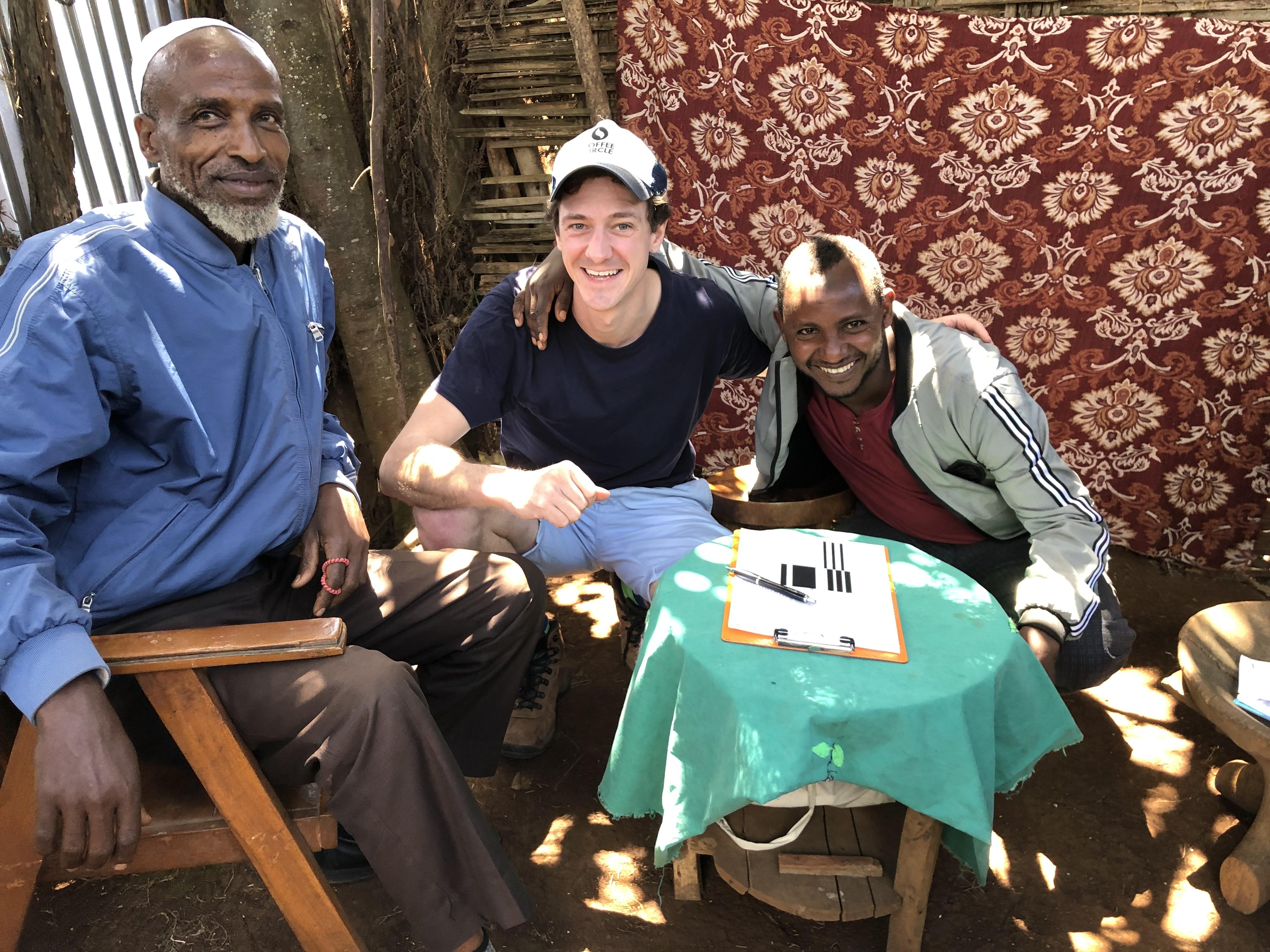 Martin mit Kaffeebauern in Äthiopien