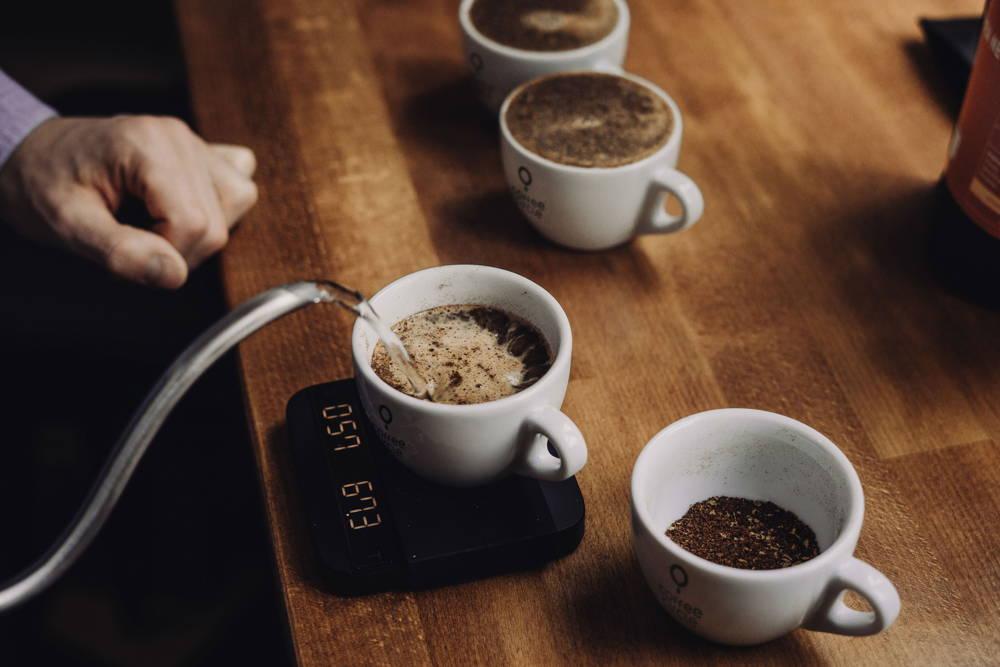 Cupping von Kaffees in Coffee Circle Tassen mit Waage