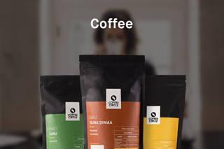 3 colourful bags of coffee circle coffee