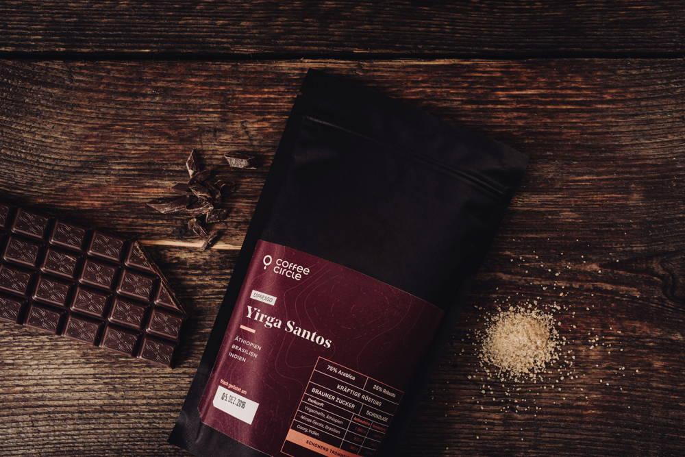 Yirga Santos Espresso Aromen Brauner Zucker und Schokolade