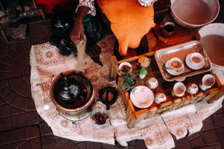 Aufbau der Kaffeezeremonie