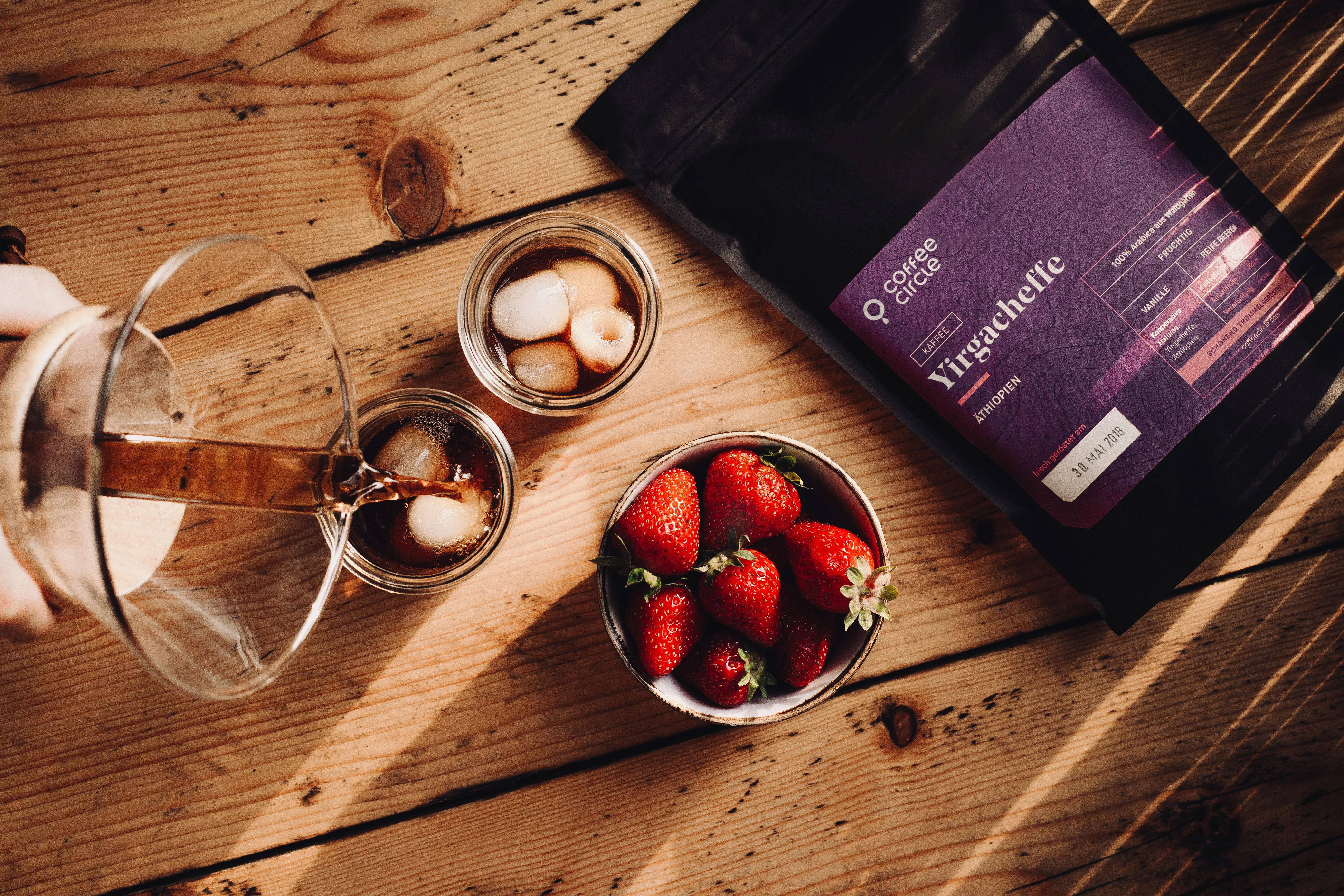 Yirgacheffe Kaffee als Cold Brew im Sommer