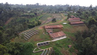 Blick auf die Farm, drying beds and Wetmill in Thiririka